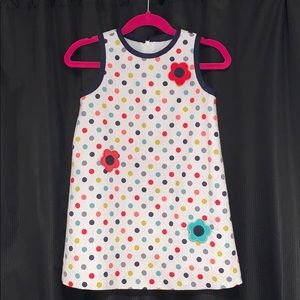 Polka Dot Shift Dress with Flowers